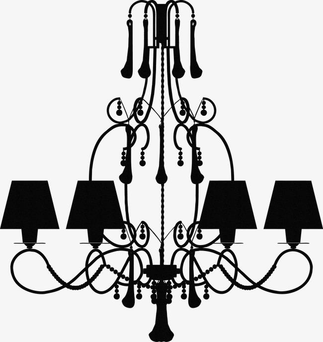 650x688 Black Chandelier Silhouette, Preto, Lustre, A Silhueta Png Imagem