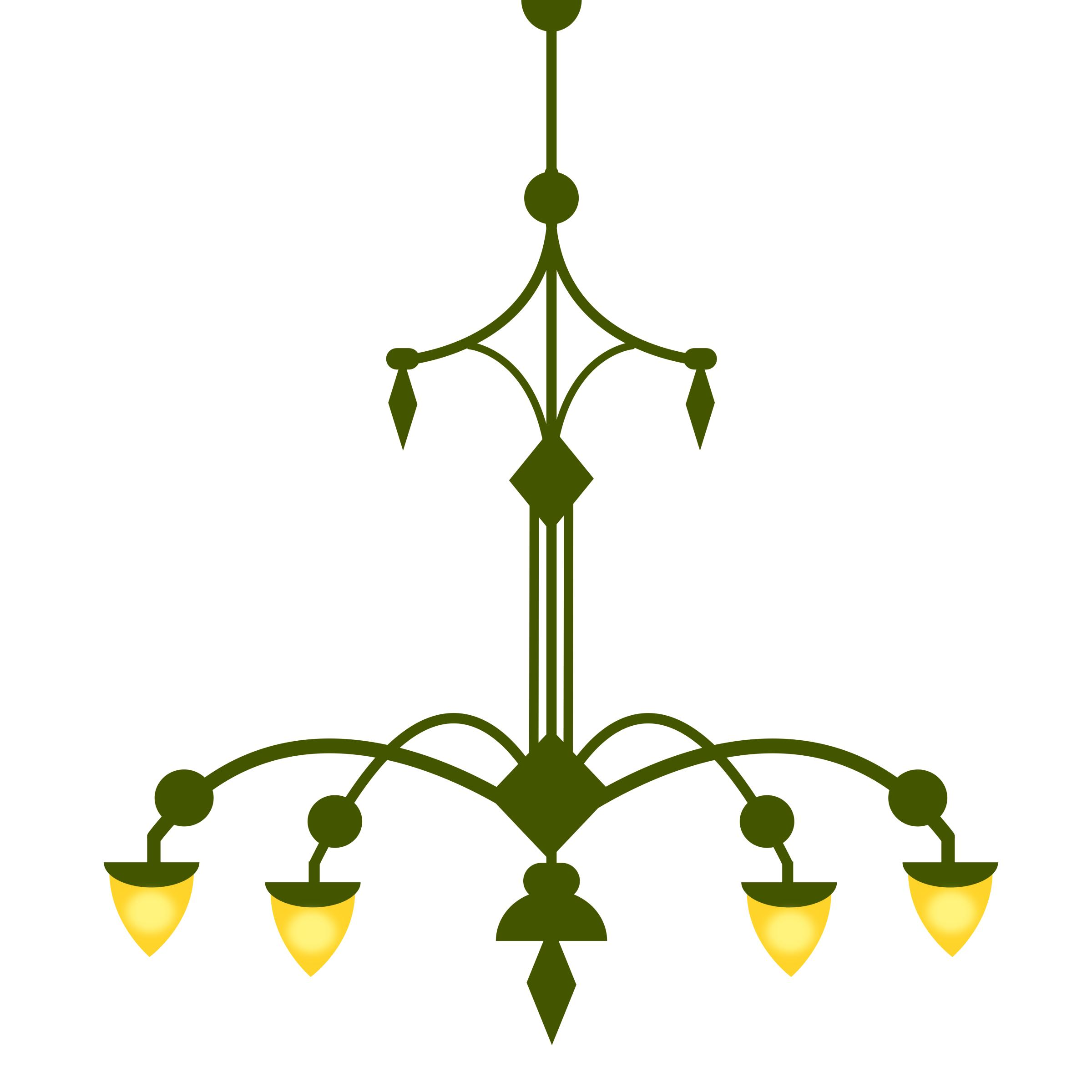 2400x2400 Ornate Chandelier, With 4 Lamps Version 1 Icons Png
