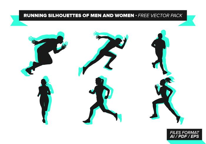 700x490 Running Silhouettes Of Men And Women Free Vector Pack