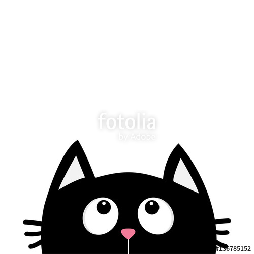 500x500 Black Cat Face Head Silhouette Looking Up. Cute Cartoon Character