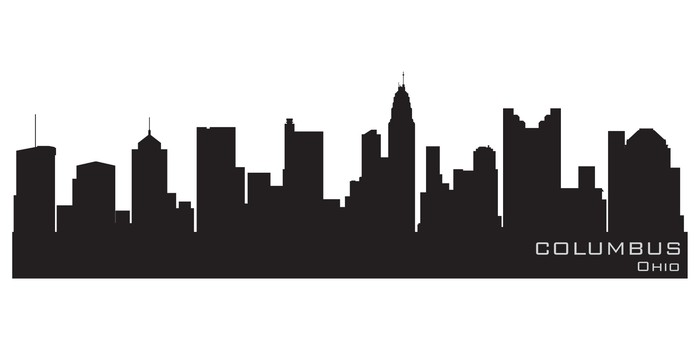 700x350 Columbus, Ohio Skyline. Detailed Vector Silhouette Wall Mural