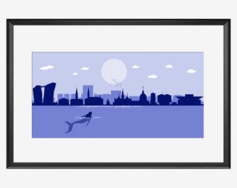 340x270 Chicago Skyline Art Print The Jungle Man Jungle Book