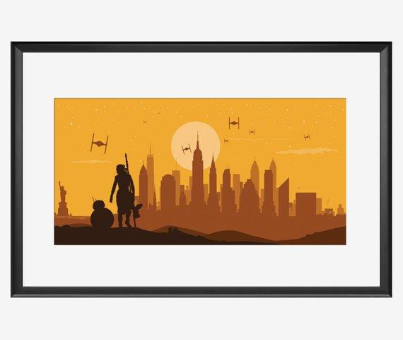 570x480 New York Skyline Star Wars Inspired Star Wars Art Star Wars