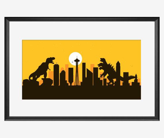 570x480 Seattle Skyline Print Seattle Washington Seattle Art