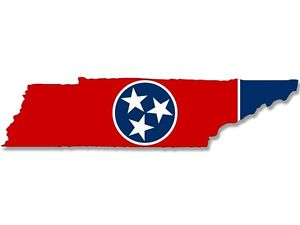 300x225 2x7 Inch Tennessee Shaped Tn State Flag Sticker Decal South