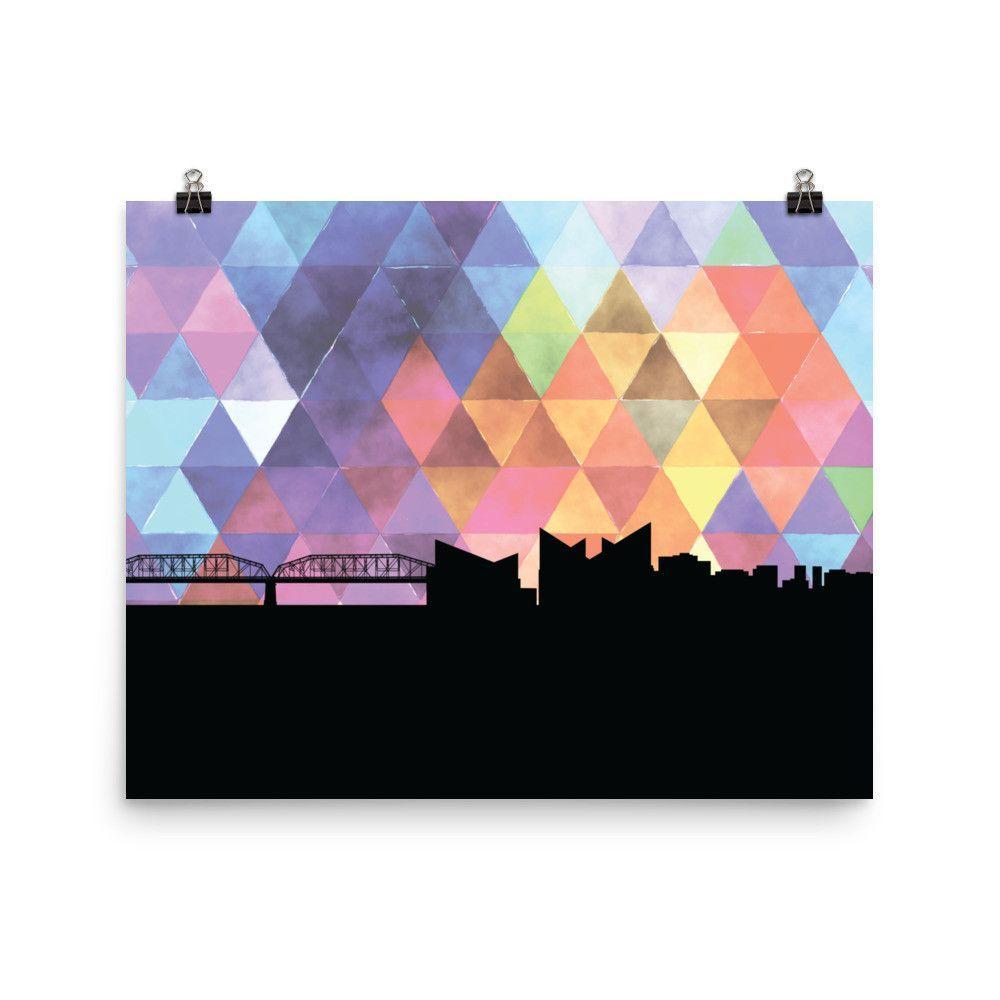 1000x1000 Chattanooga Geometric Skyline Print In Purple I Just Paint