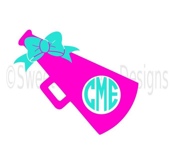 694x626 Cheer Megaphone Monogram With Bow Svg Instant Download Design