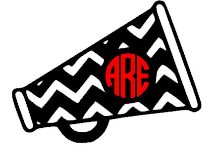 442x312 Chevron Cheer Megaphone Monogrammed Decal Everything Cheer