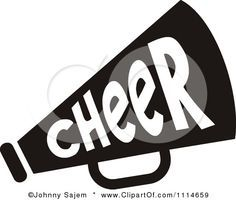 236x200 Clipart Cheerleader Pom Pom And Megaphone In Blue Tones Royalty