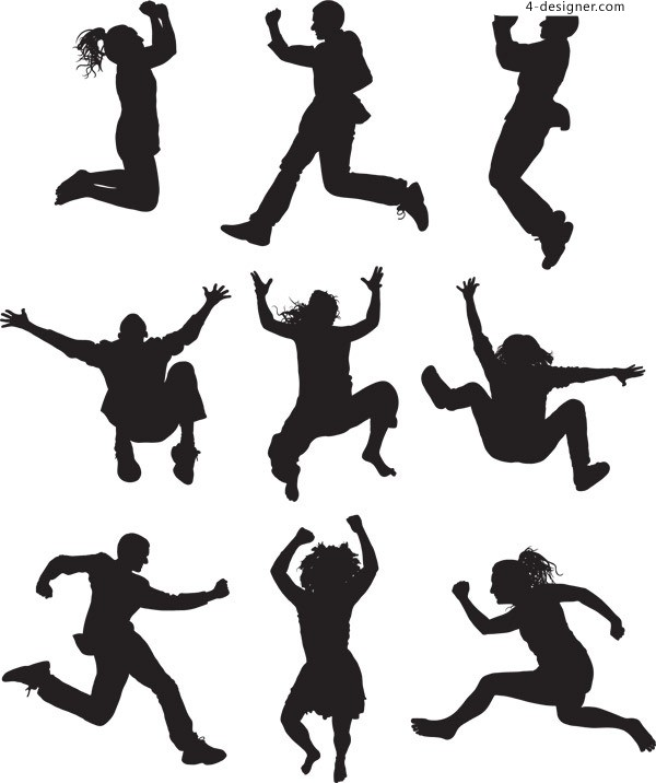 600x716 4 Designer Cheering Silhouette Figures Vector Material Downloaded