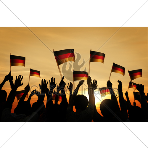 500x500 Group Of People Waving German Flags In Silhouette Gl Stock Images