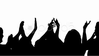 320x180 Silhouette Of Crowd Clapping And Cheering. Stock Footage