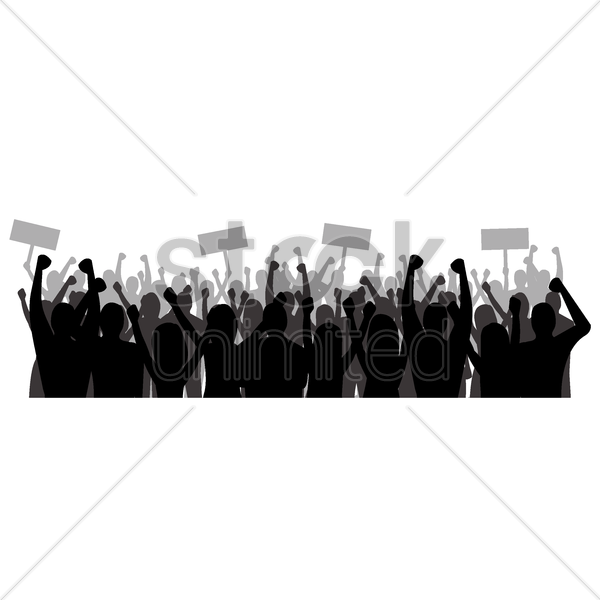 600x600 Silhouette Of Cheering Crowd Vector Image