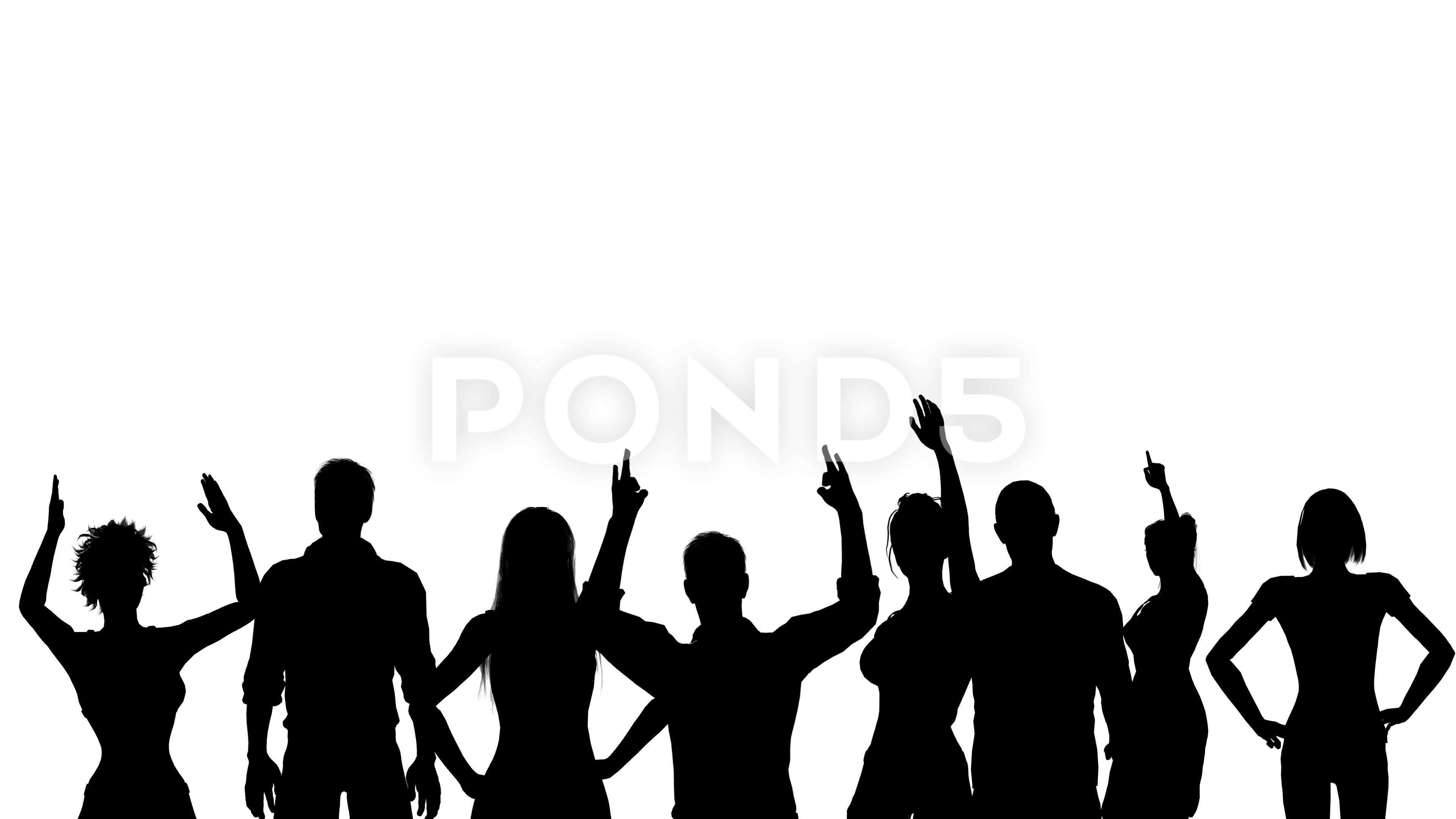 3840x2160 Black Silhouettes Of Cheering Fans. Alpha Channel. Alpha Matte. 4k