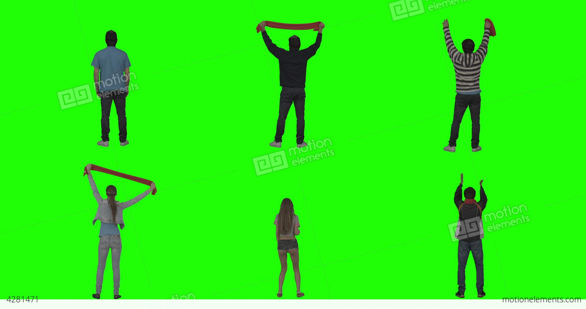 1920x1013 Cheering Fans On Green Screen Stock Video Footage 4281471