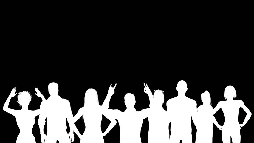 852x480 White Silhouettes Of Cheering Fans. Alpha Channel. 4k Royalty Free
