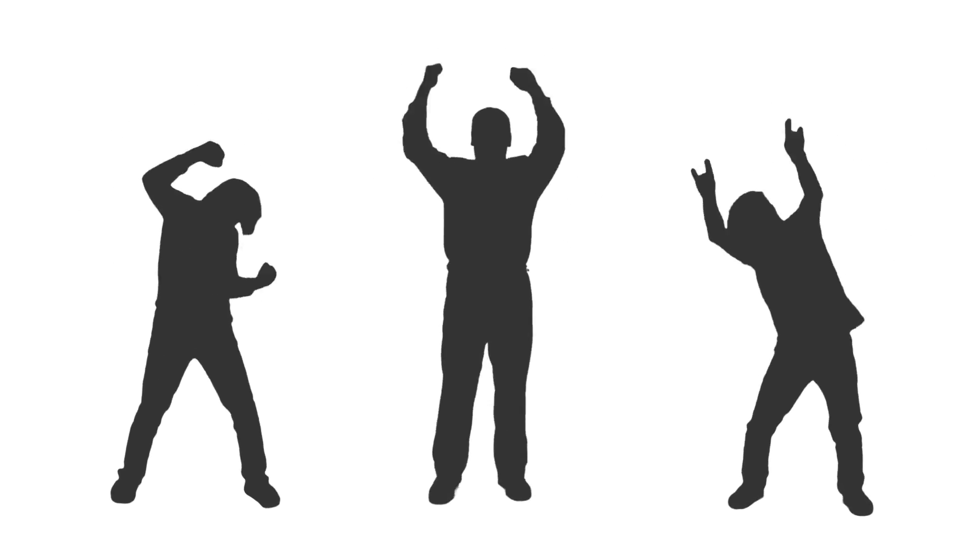 1920x1080 Silhouettes Of Three Young Men Dancing, Full Hd Shot With Alpha