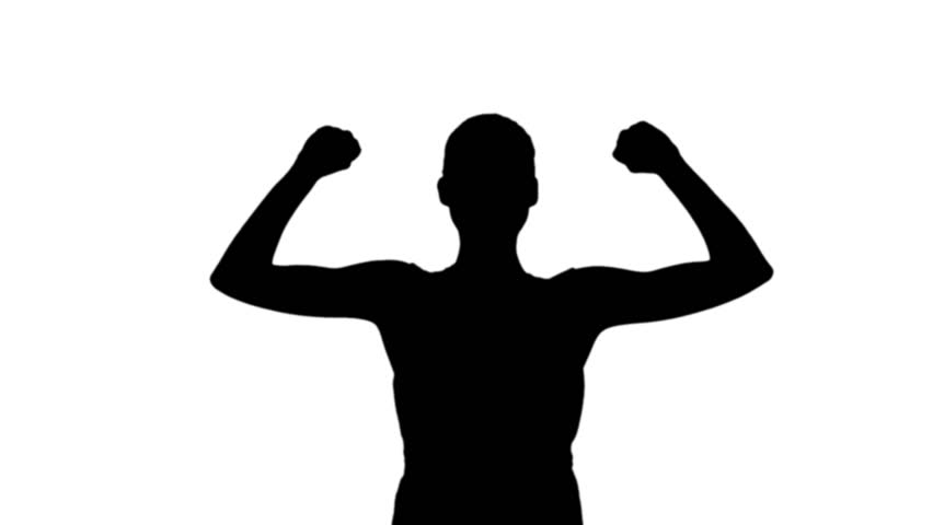 852x480 Woman Cheering In Black Silhouette On White Background Stock