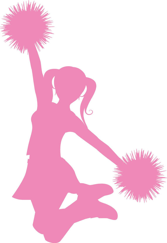 570x826 Cheer Clipart Black And White Silhouette