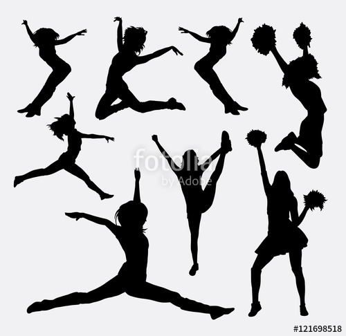 500x486 Jumping Cheerleader Silhouette. Good Use For Symbol, Logo, Web