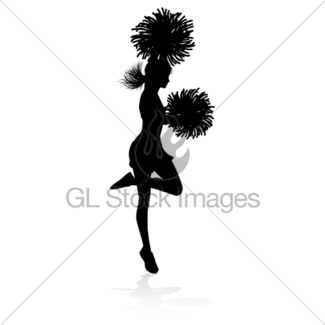 325x325 Silhouette Cheerleader Gl Stock Images