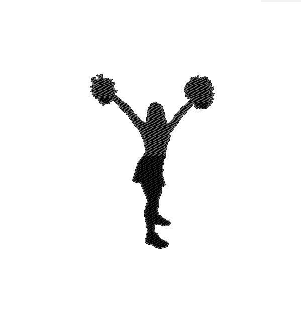 599x666 Cheerleader Silhouette Filled Machine Embroidery Design