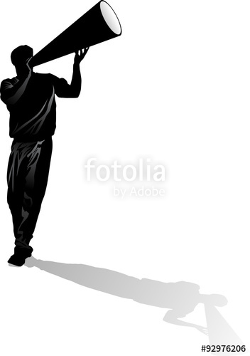 352x500 Male Cheerleader Silhouette With Megaphone Stock Image