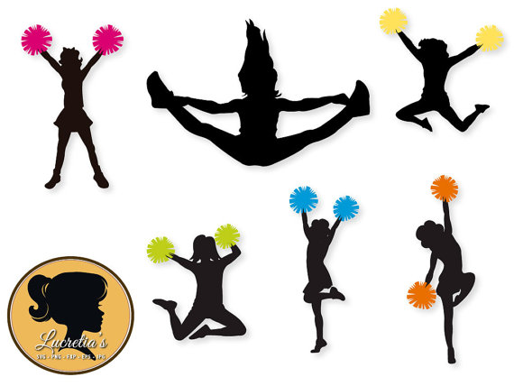 570x428 Cheerleaders Silhouettes, Cheerleaders Svg, Cheerleaders , Svg
