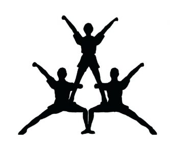 333x286 Cheerleading Stunt Silhouette Clipart Cheer Stunt Clipart