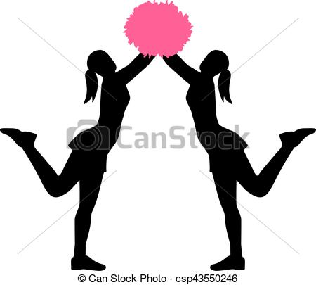 450x405 Two Cheerleader With Pom Pom Eps Vector