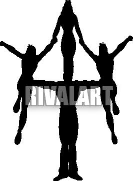 266x361 Cheer Stunt Silhouette Clipart