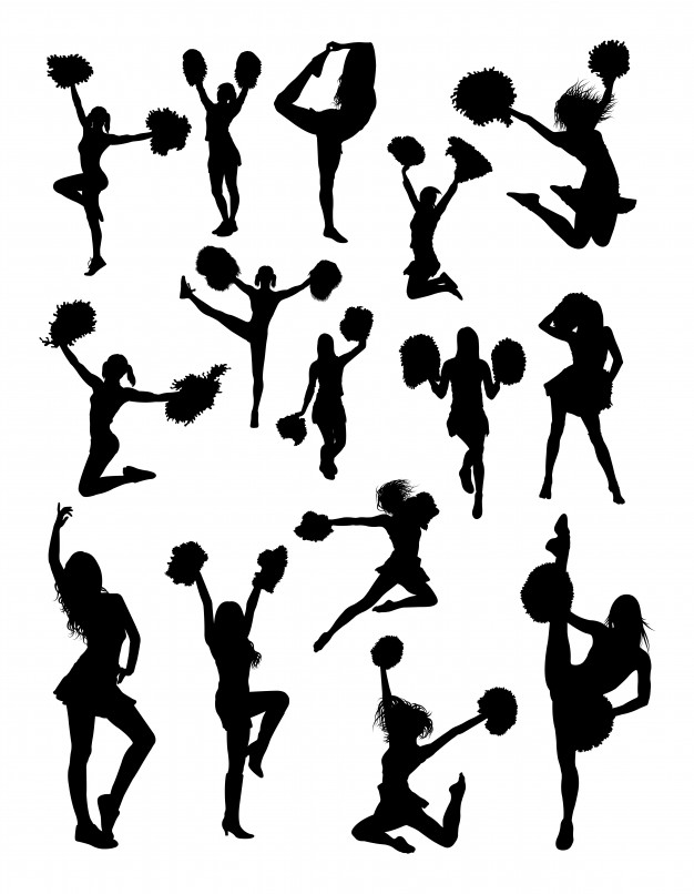 626x806 Cheerleader Gesture Silhouette Vector Premium Download