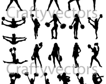 340x270 Cheerleaders Svg Cut Files Cheerleader Silhouette Cheerleader