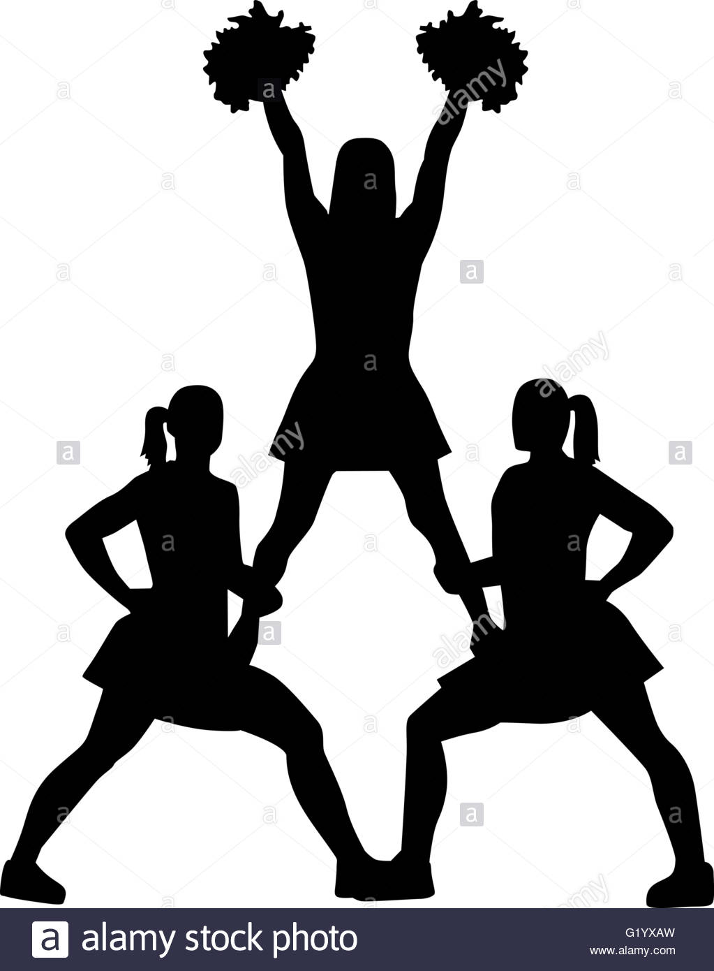 1023x1390 Cheerleading Pyramid Silhouette Stock Vector Art Amp Illustration