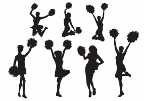 285x200 Cheerleading Silhouettes Free Vector Graphic Art Free Download