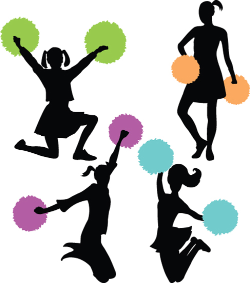 500x565 Set Of Cheerleaders Vector Silhouettes 02