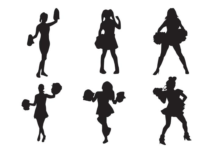 700x490 Cheerleader Silhouette Vectors