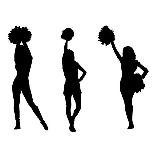 500x500 Cheerleaders Silhouettes [Pack Of Three] (1 X 2.5)