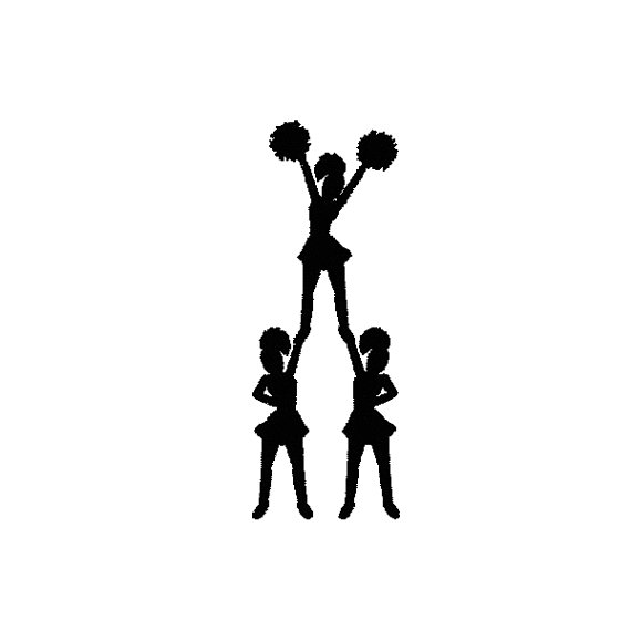 570x570 3 Cheer Silhouette Cheerleaders Machine Embroidery Design