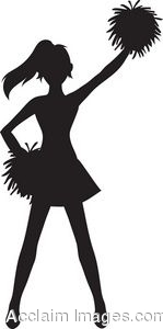 149x300 Clip Art Of A Cheerleader Silhouette With Pom Poms