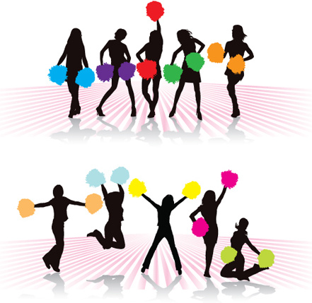 441x429 Set Of Cheerleaders Vector Silhouettes Free Vector In Encapsulated