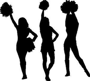 300x269 Cheerleaders Cheerleading Girls Squad With Pom Pom Silhouette Car