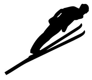 320x279 Ski Jump Silhouette Decal Sticker