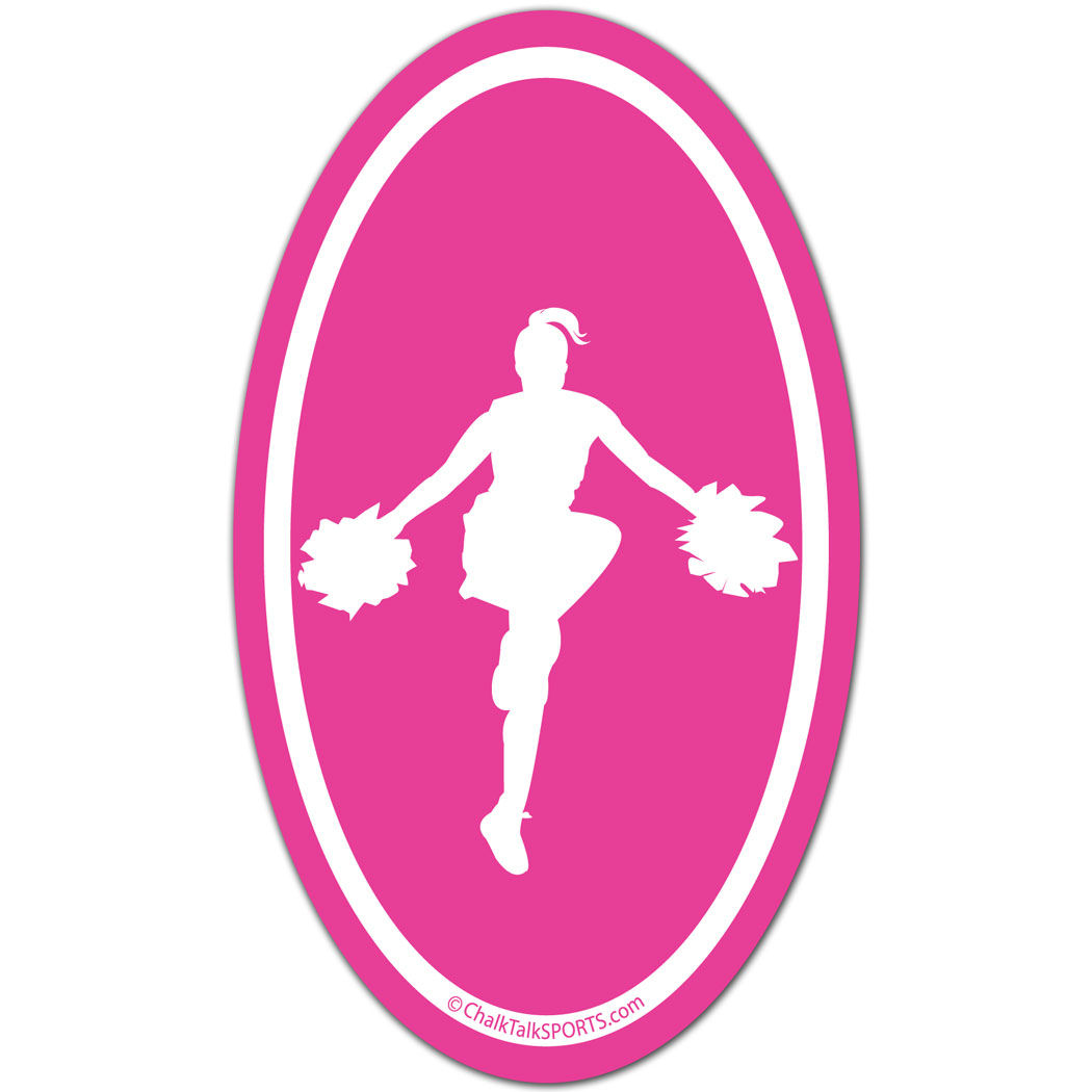 1050x1050 Cheerleading Girl Silhouette Oval Car Magnet (Pink) Cheerleading