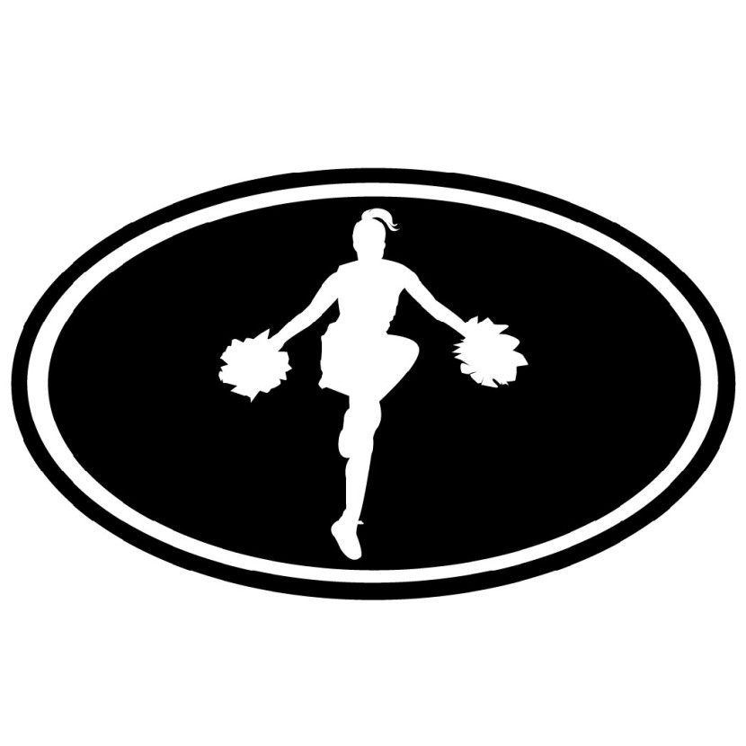 830x830 Cheerleading Black And White Clipart