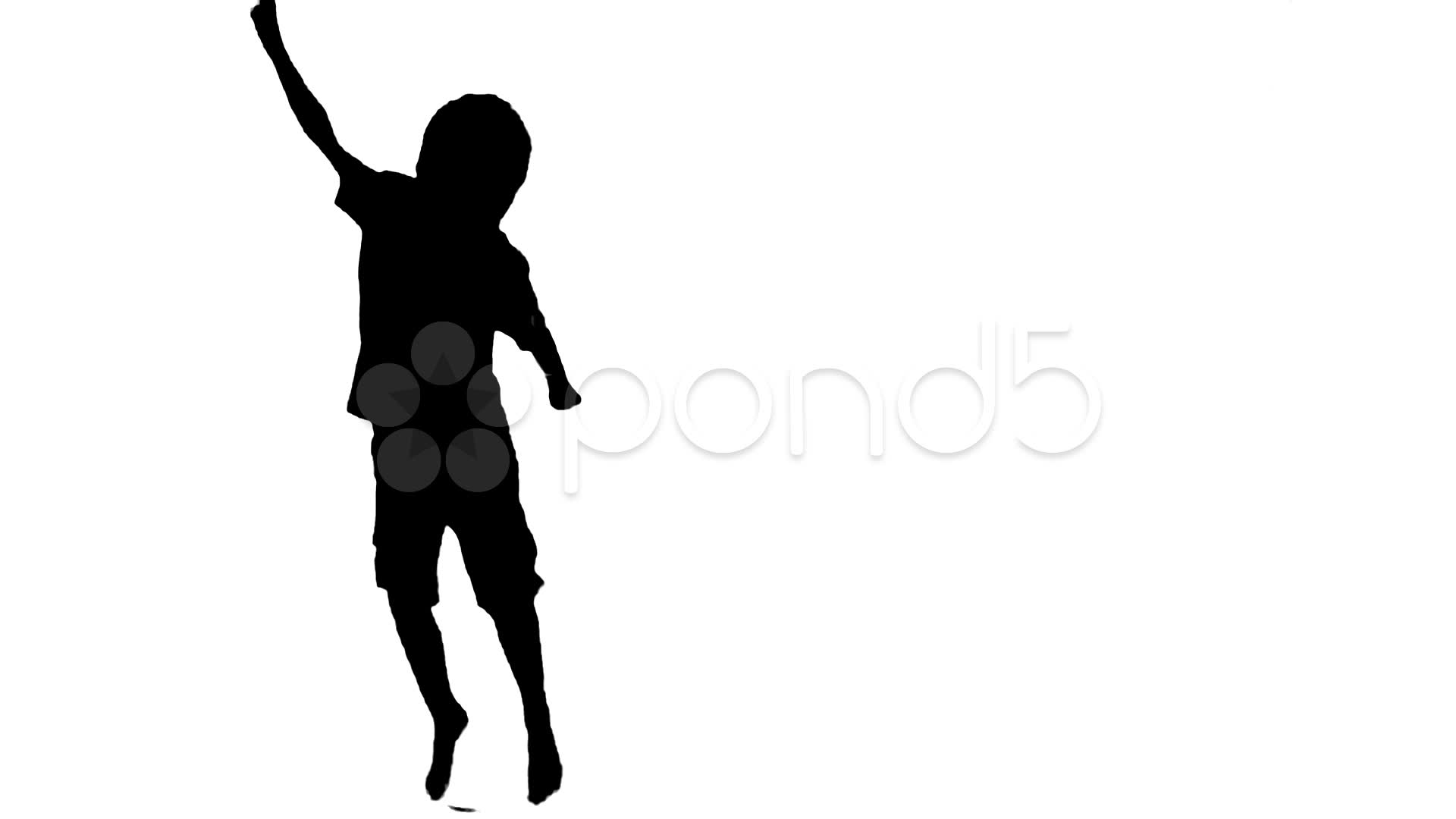 1920x1080 Enthusiastic Silhouette Boy Cheers And Jumps Freeze Frame Black