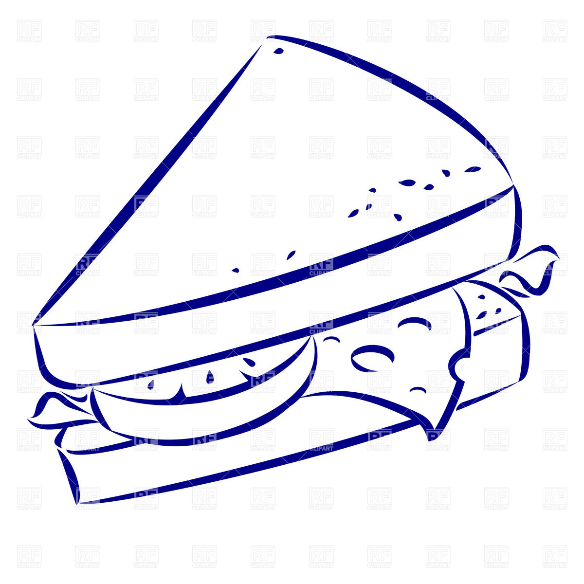 1200x1200 Sandwich With Cheese Simple Outline Icon Royalty Free Vector Clip