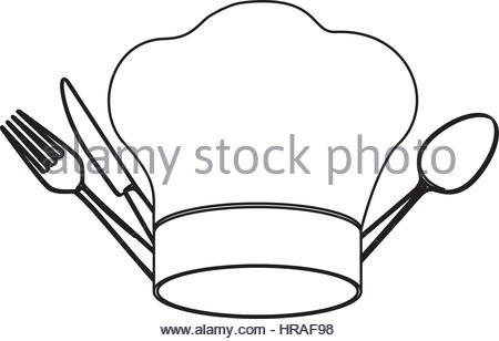 450x308 Silhouette Cutlery Set With Chef Hat Vector Illustration Stock