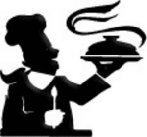 300x279 Clipart Picture Of A Chef, Holding A Platter, In Silhouette