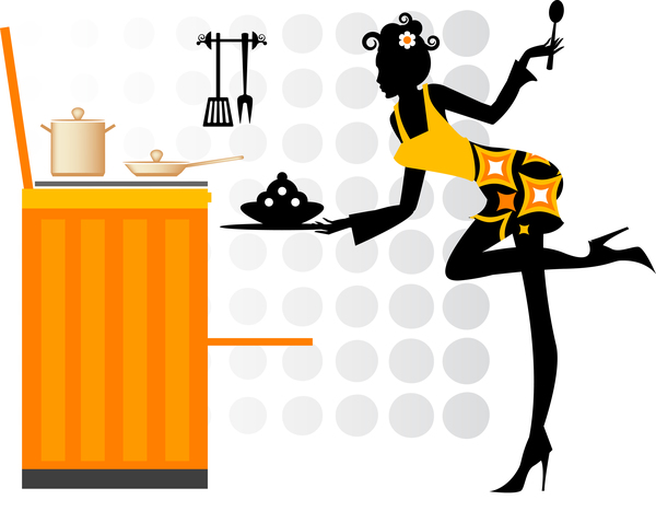 600x478 Woman Chef Cooking Silhouette Vector